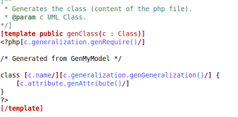 template - uml to php
